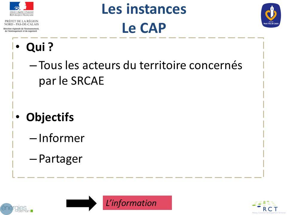 Les instances Le CAP Qui ? – Tous les acteurs du territoire concernés par le SRCAE Objectifs – Informer – Partager Linformation
