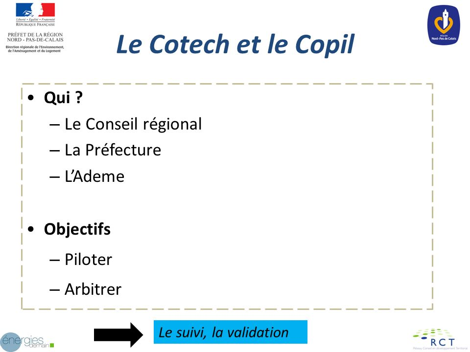 Le Cotech et le Copil Le suivi, la validation Qui .