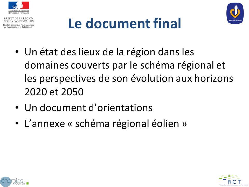 Le document final Un état des lieux de la région dans les domaines couverts par le schéma régional et les perspectives de son évolution aux horizons 2