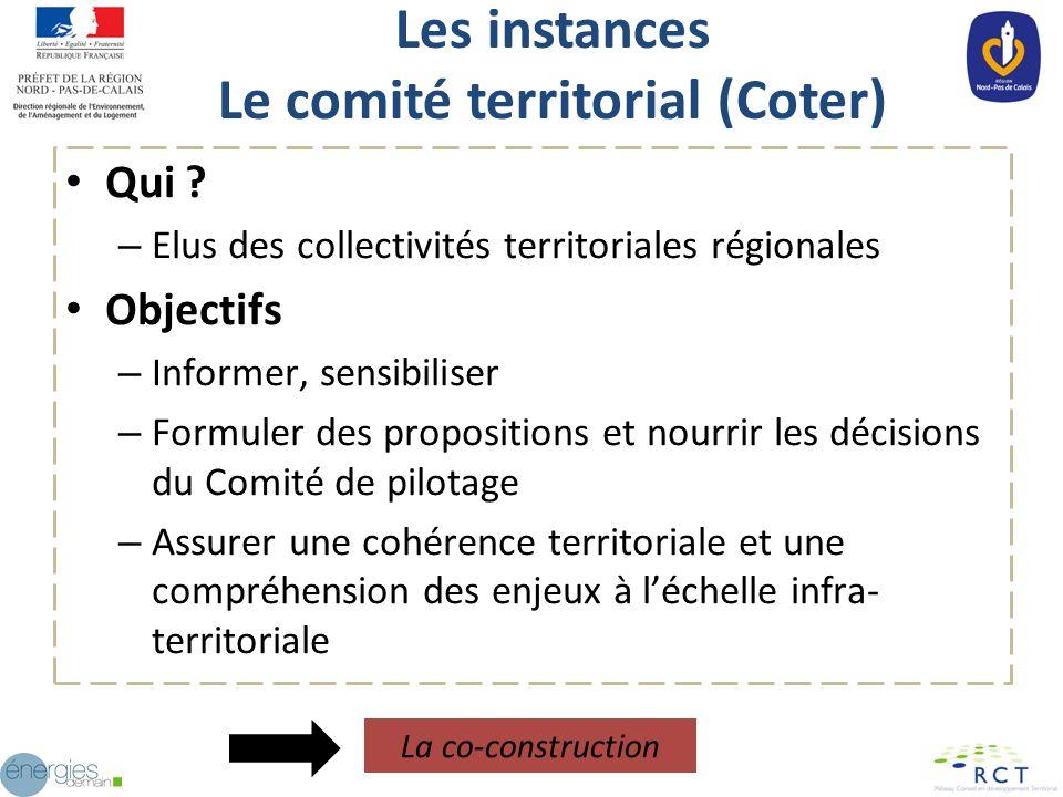 Les instances Le comité territorial (Coter) Qui ? – Elus des collectivités territoriales régionales Objectifs – Informer, sensibiliser – Formuler des