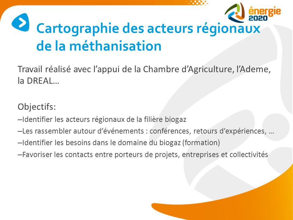 Travail réalisé avec lappui de la Chambre dAgriculture, lAdeme, la DREAL… Objectifs: – Identifier les acteurs régionaux de la filière biogaz – Les ras