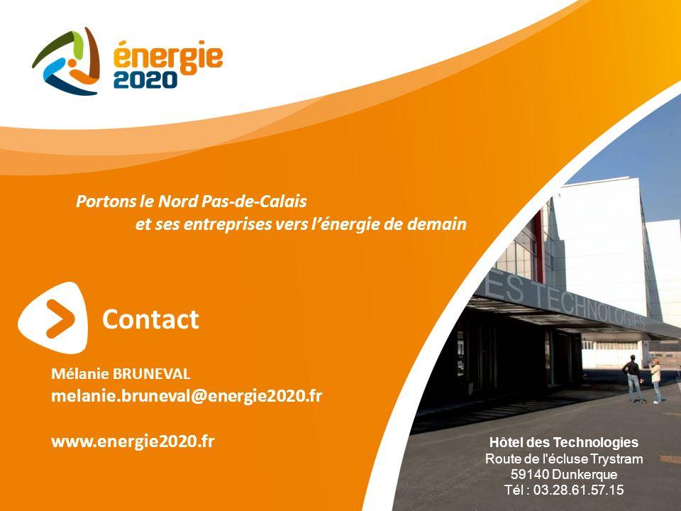 Contact Mélanie BRUNEVAL melanie.bruneval@energie2020.fr www.energie2020.fr Portons le Nord Pas-de-Calais et ses entreprises vers lénergie de demain H