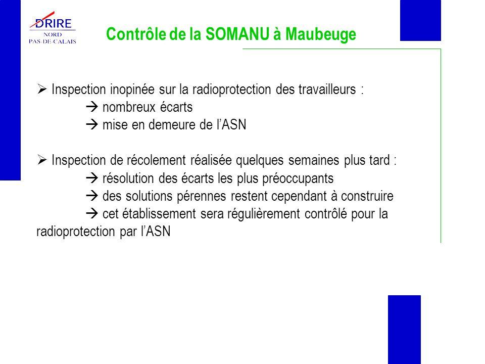 Contrôle de la SOMANU à Maubeuge Inspection inopinée sur la radioprotection des travailleurs : nombreux écarts mise en demeure de lASN Inspection de r