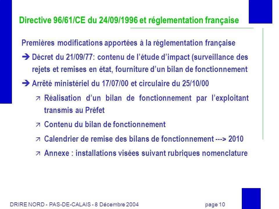 DRIRE NORD - PAS-DE-CALAIS - 8 Décembre 2004 page 10 Directive 96/61/CE du 24/09/1996 et réglementation française Premières modifications apportées à