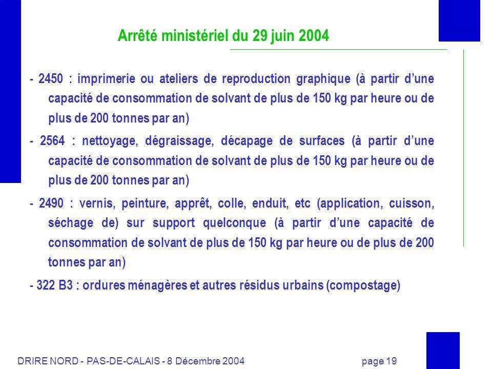 DRIRE NORD - PAS-DE-CALAIS - 8 Décembre 2004 page 19 Arrêté ministériel du 29 juin 2004 - 2450 : imprimerie ou ateliers de reproduction graphique (à p
