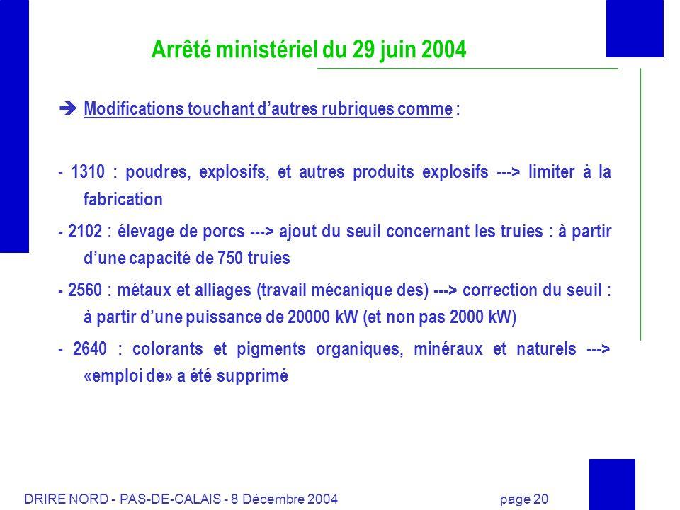 DRIRE NORD - PAS-DE-CALAIS - 8 Décembre 2004 page 20 Arrêté ministériel du 29 juin 2004 Modifications touchant dautres rubriques comme : - 1310 : poud