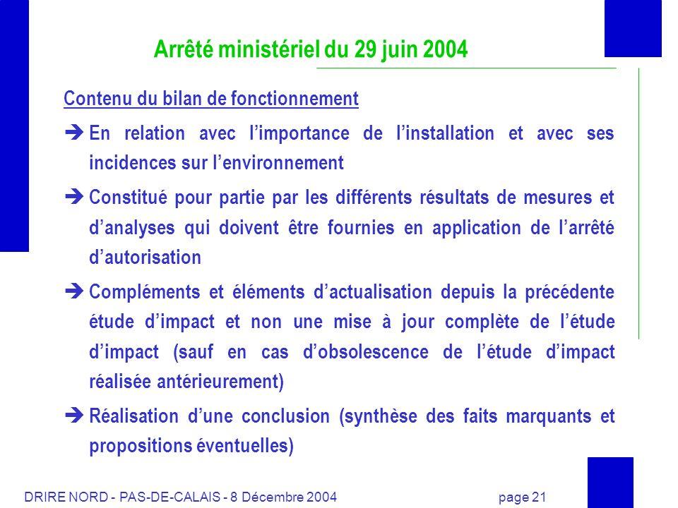 DRIRE NORD - PAS-DE-CALAIS - 8 Décembre 2004 page 21 Arrêté ministériel du 29 juin 2004 Contenu du bilan de fonctionnement En relation avec limportanc