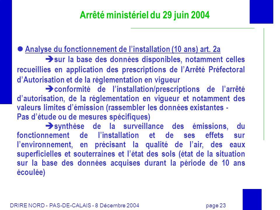 DRIRE NORD - PAS-DE-CALAIS - 8 Décembre 2004 page 23 Arrêté ministériel du 29 juin 2004 Analyse du fonctionnement de linstallation (10 ans) art. 2a su