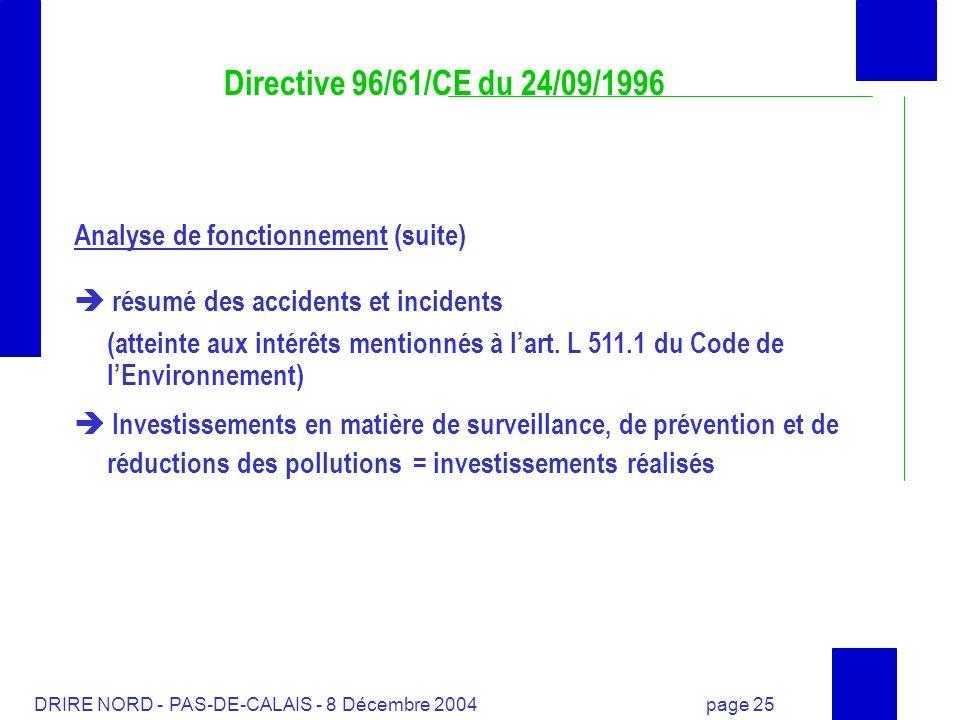 DRIRE NORD - PAS-DE-CALAIS - 8 Décembre 2004 page 25 Directive 96/61/CE du 24/09/1996 Analyse de fonctionnement (suite) résumé des accidents et incide