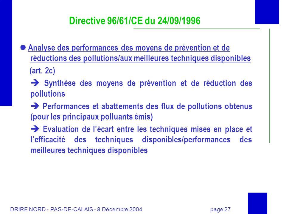 DRIRE NORD - PAS-DE-CALAIS - 8 Décembre 2004 page 27 Analyse des performances des moyens de prévention et de réductions des pollutions/aux meilleures