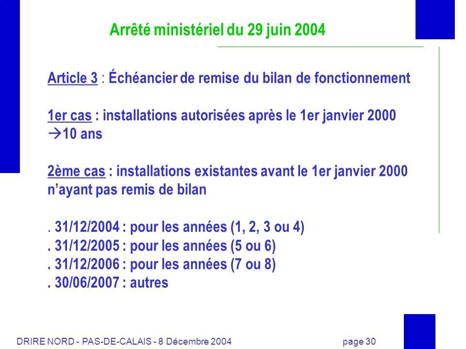 DRIRE NORD - PAS-DE-CALAIS - 8 Décembre 2004 page 30 Arrêté ministériel du 29 juin 2004 Article 3 : Échéancier de remise du bilan de fonctionnement 1e