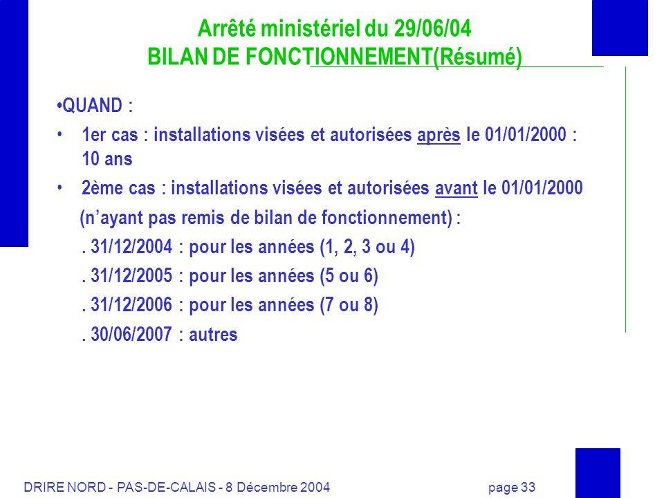 DRIRE NORD - PAS-DE-CALAIS - 8 Décembre 2004 page 33 Arrêté ministériel du 29/06/04 BILAN DE FONCTIONNEMENT(Résumé) QUAND : 1er cas : installations vi