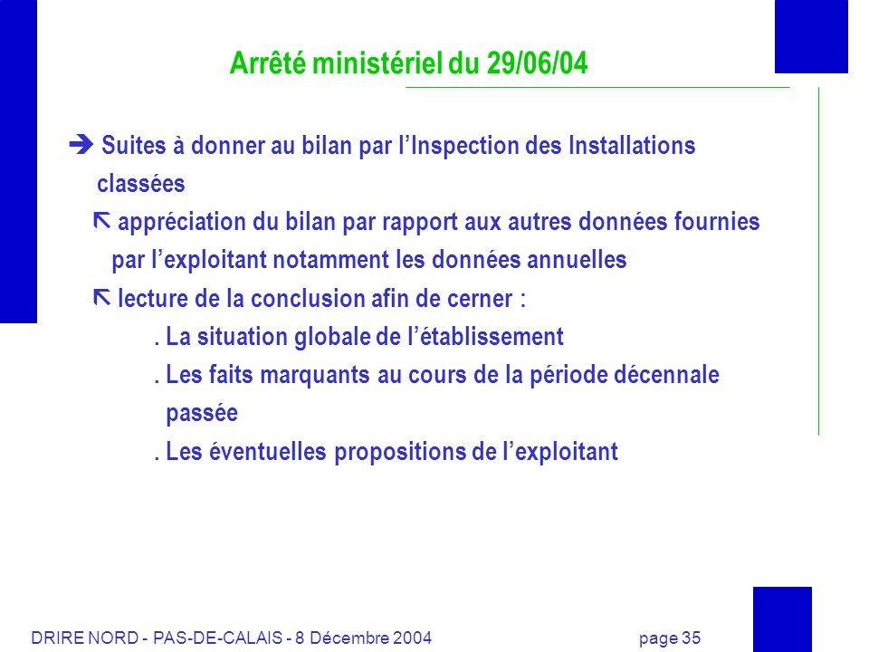 DRIRE NORD - PAS-DE-CALAIS - 8 Décembre 2004 page 35 Arrêté ministériel du 29/06/04 Suites à donner au bilan par lInspection des Installations classée