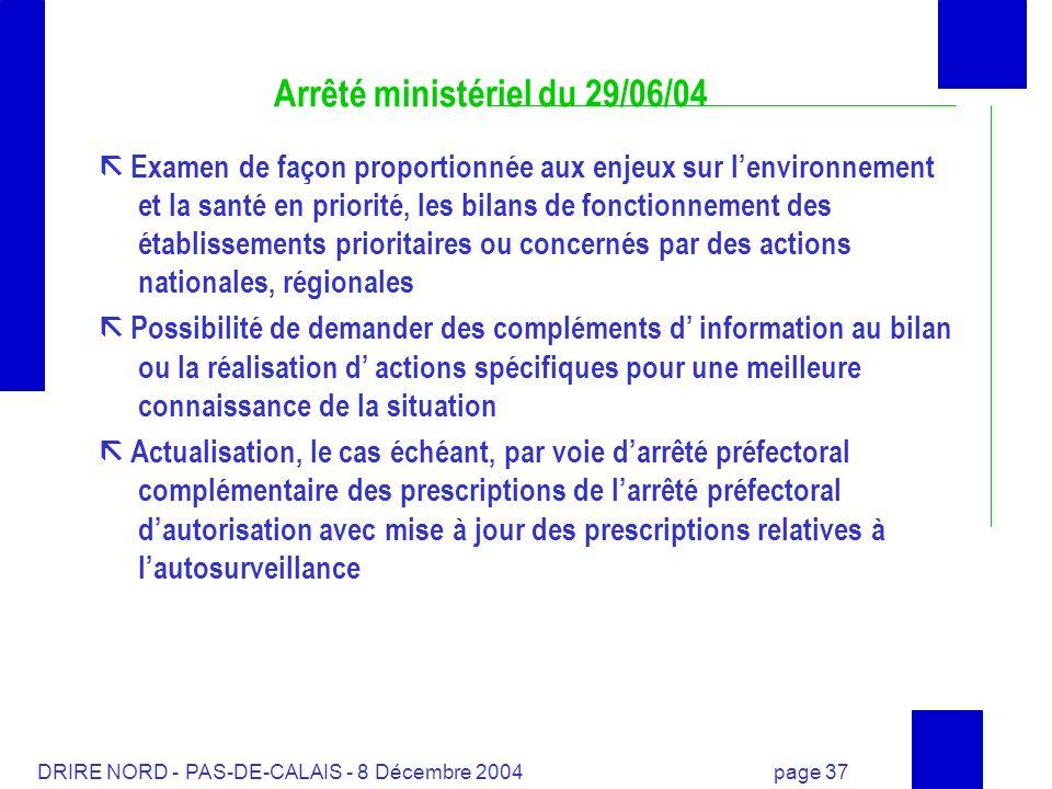 DRIRE NORD - PAS-DE-CALAIS - 8 Décembre 2004 page 37 Arrêté ministériel du 29/06/04 Examen de façon proportionnée aux enjeux sur lenvironnement et la