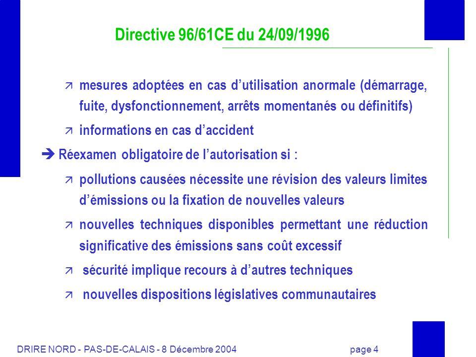DRIRE NORD - PAS-DE-CALAIS - 8 Décembre 2004 page 4 Directive 96/61CE du 24/09/1996 mesures adoptées en cas dutilisation anormale (démarrage, fuite, d