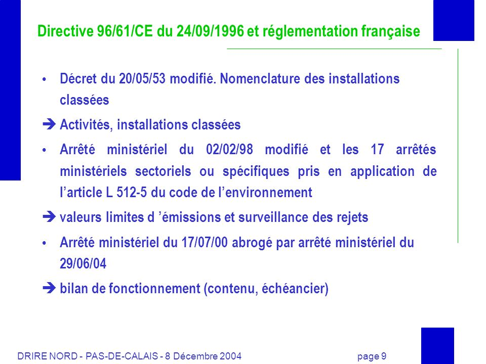 DRIRE NORD - PAS-DE-CALAIS - 8 Décembre 2004 page 10 Directive 96/61/CE du 24/09/1996 et réglementation française Premières modifications apportées à la réglementation française Décret du 21/09/77: contenu de létude dimpact (surveillance des rejets et remises en état, fourniture dun bilan de fonctionnement Arrêté ministériel du 17/07/00 et circulaire du 25/10/00 Réalisation dun bilan de fonctionnement par lexploitant transmis au Préfet Contenu du bilan de fonctionnement Calendrier de remise des bilans de fonctionnement ---> 2010 Annexe : installations visées suivant rubriques nomenclature