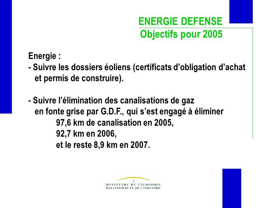 ENERGIE DEFENSE Objectifs pour 2005 Energie : - Suivre les dossiers éoliens (certificats dobligation dachat et permis de construire). - Suivre lélimin