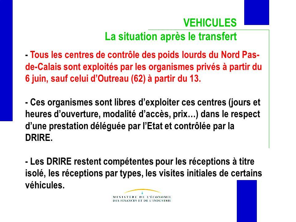 VEHICULES La situation après le transfert - Tous les centres de contrôle des poids lourds du Nord Pas- de-Calais sont exploités par les organismes pri