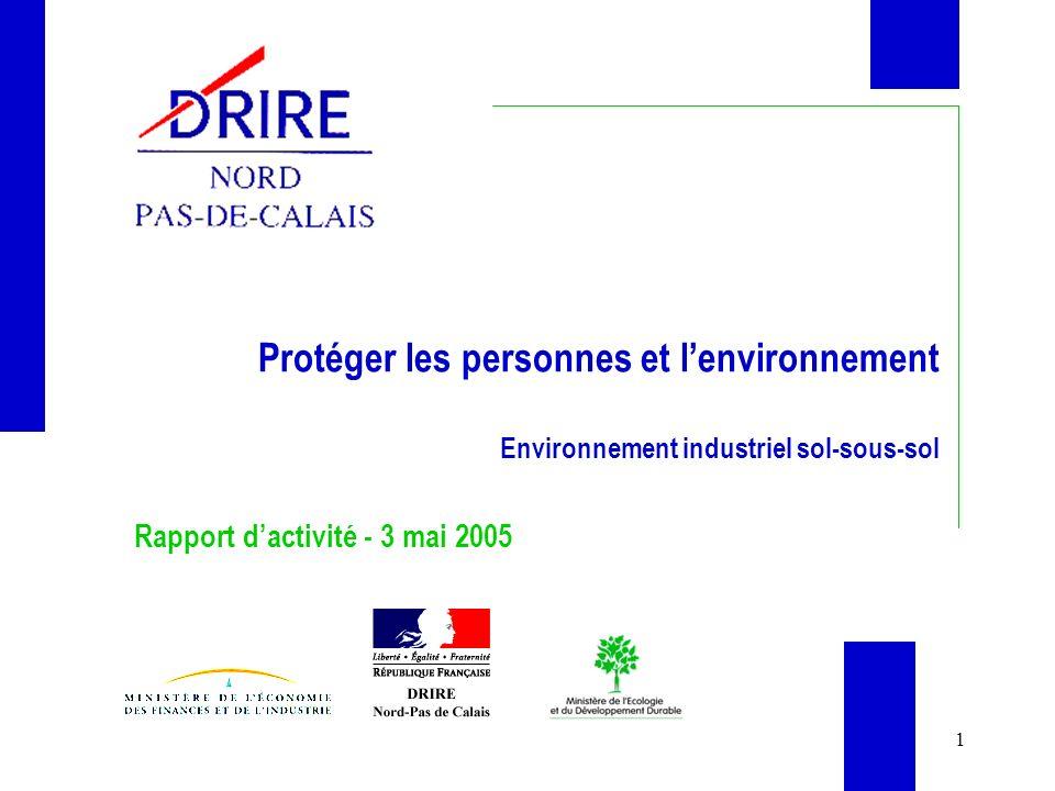 1 Protéger les personnes et lenvironnement Environnement industriel sol-sous-sol Rapport dactivité - 3 mai 2005