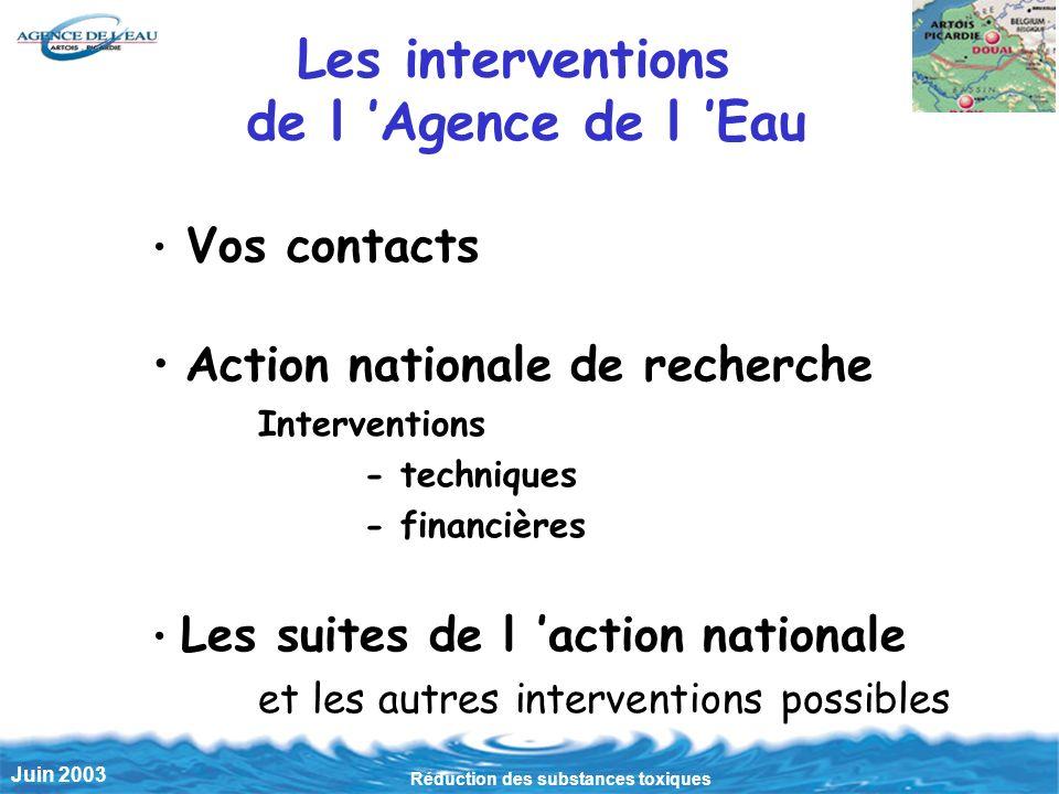 Réduction des substances toxiques Juin 2003 Les interventions de l Agence de l Eau Vos contacts Action nationale de recherche Interventions - techniqu