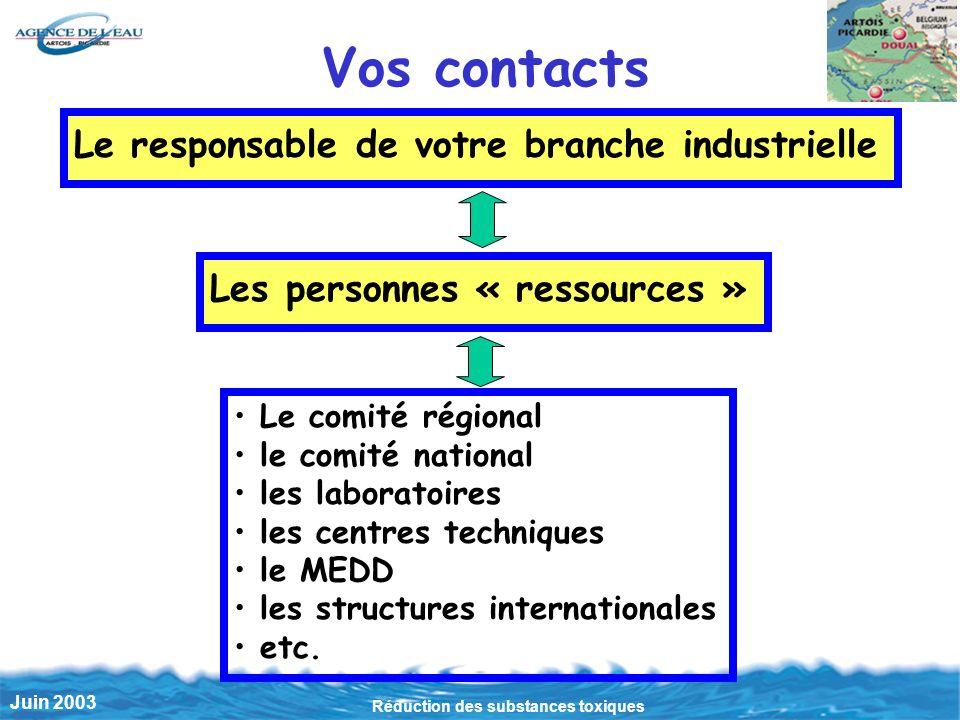 Réduction des substances toxiques Juin 2003 Le responsable de votre branche industrielle Vos contacts Les personnes « ressources » Le comité régional