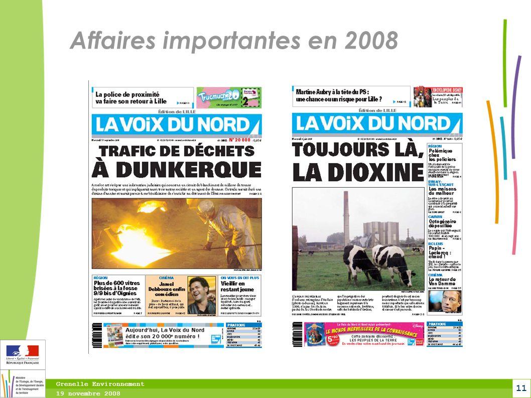Grenelle Environnement 19 novembre 2008 11 Affaires importantes en 2008