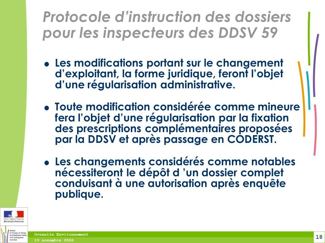 Grenelle Environnement 19 novembre 2008 18 Protocole dinstruction des dossiers pour les inspecteurs des DDSV 59 Les modifications portant sur le chang