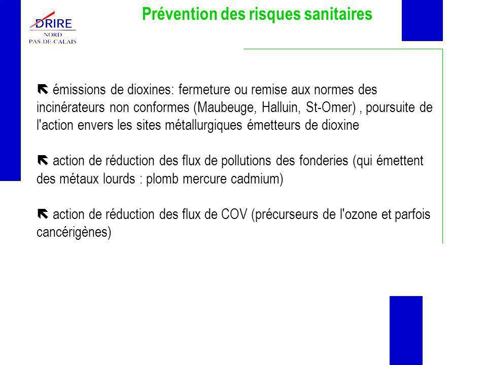 Prévention des risques sanitaires émissions de dioxines: fermeture ou remise aux normes des incinérateurs non conformes (Maubeuge, Halluin, St-Omer),