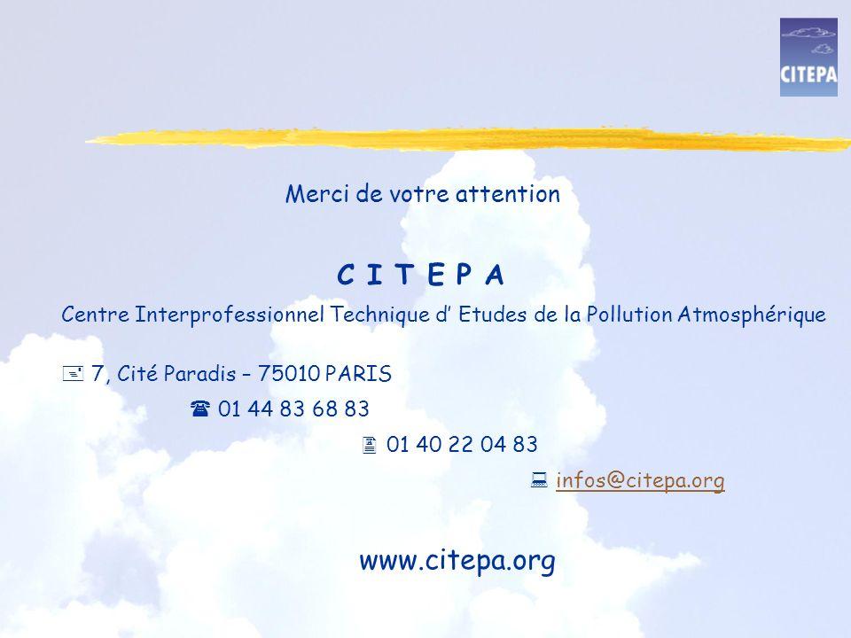 Merci de votre attention C I T E P A Centre Interprofessionnel Technique d Etudes de la Pollution Atmosphérique 7, Cité Paradis – 75010 PARIS 01 44 83 68 83 01 40 22 04 83 infos@citepa.org www.citepa.org