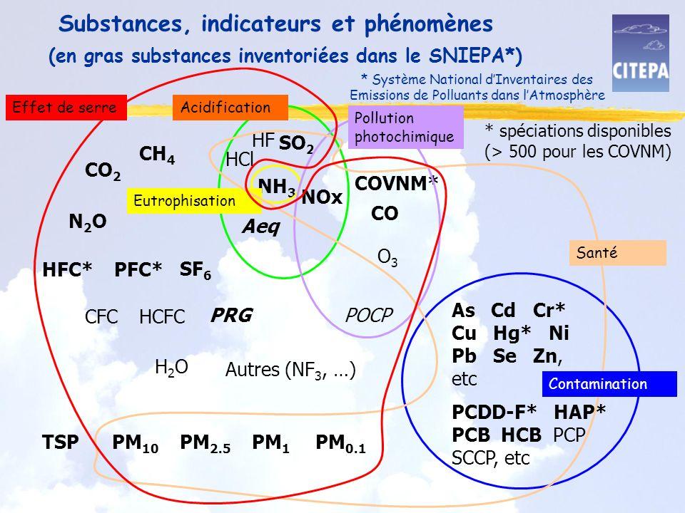 Substances, indicateurs et phénomènes SO 2 NOx COVNM* NH 3 CO 2 CH 4 N2ON2O HFC*PFC* SF 6 CFCHCFC O3O3 H2OH2O CO Aeq PRGPOCP As Cd Cr* Cu Hg* Ni Pb Se Zn, etc HCl HF PCDD-F* HAP* PCB HCB PCP SCCP, etc TSP PM 10 PM 2.5 PM 1 PM 0.1 Acidification Pollution photochimique Eutrophisation Contamination Santé (en gras substances inventoriées dans le SNIEPA*) * spéciations disponibles (> 500 pour les COVNM) Autres (NF 3, …) * Système National dInventaires des Emissions de Polluants dans lAtmosphère Effet de serre
