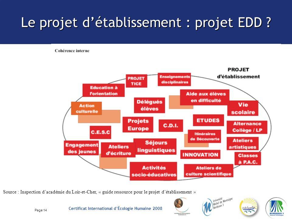 Page 14 Certificat International dÉcologie Humaine 2008 Le projet détablissement : projet EDD .