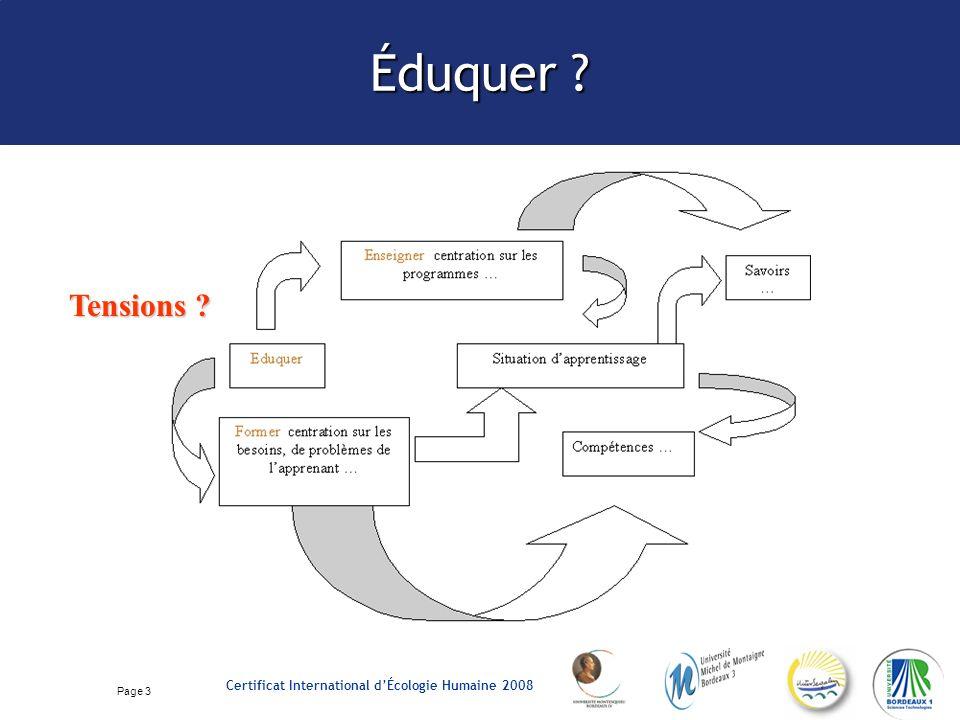 Page 4 Certificat International dÉcologie Humaine 2008 Éduquer à lenvironnement .
