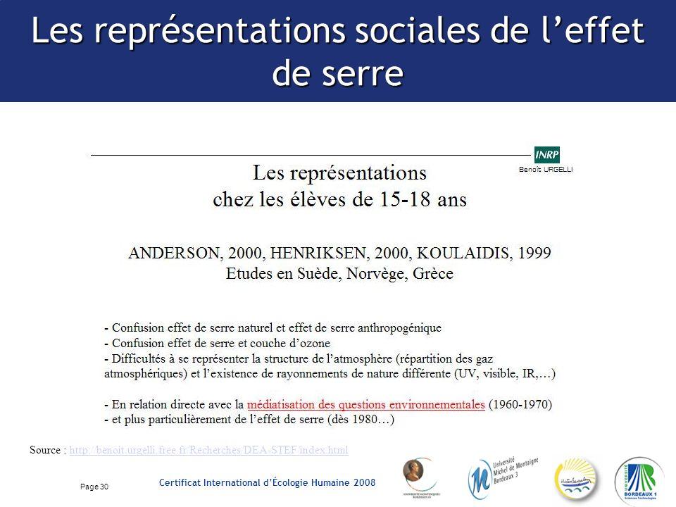 Page 30 Certificat International dÉcologie Humaine 2008 Les représentations sociales de leffet de serre Source : http://benoit.urgelli.free.fr/Recherches/DEA-STEF/index.htmlhttp://benoit.urgelli.free.fr/Recherches/DEA-STEF/index.html