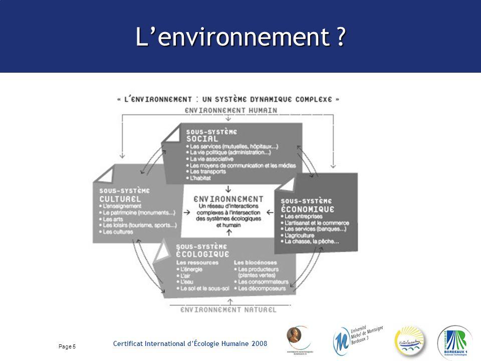 Page 5 Certificat International dÉcologie Humaine 2008 Lenvironnement