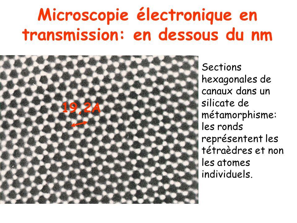 Microscopie électronique en transmission: en dessous du nm 19,2A Sections hexagonales de canaux dans un silicate de métamorphisme: les ronds représent