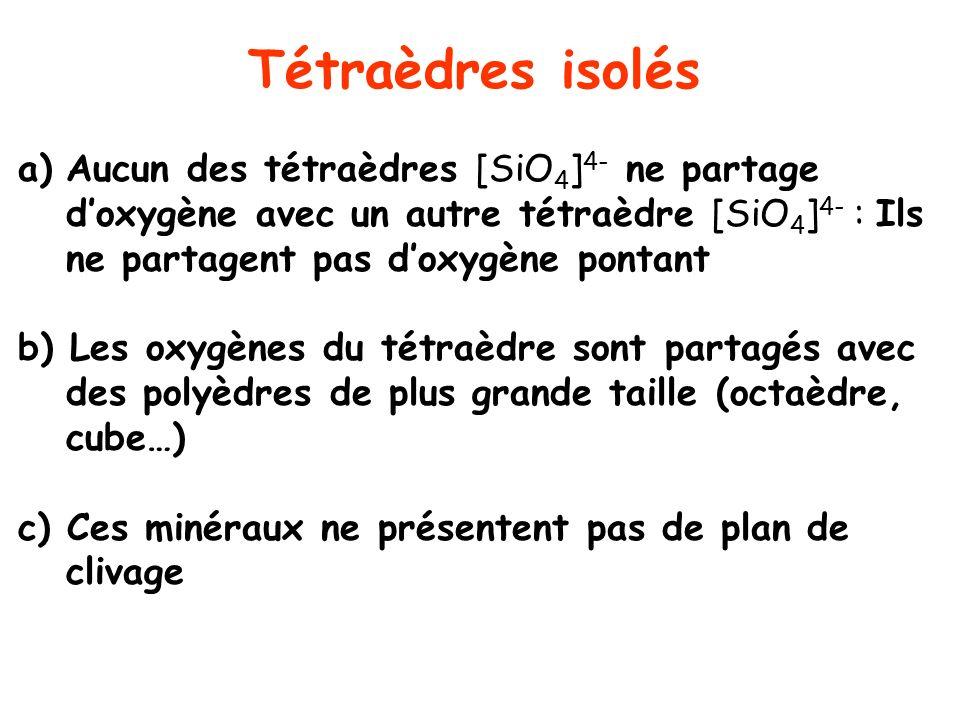 Tétraèdres isolés a)Aucun des tétraèdres [SiO 4 ] 4- ne partage doxygène avec un autre tétraèdre [SiO 4 ] 4- : Ils ne partagent pas doxygène pontant b
