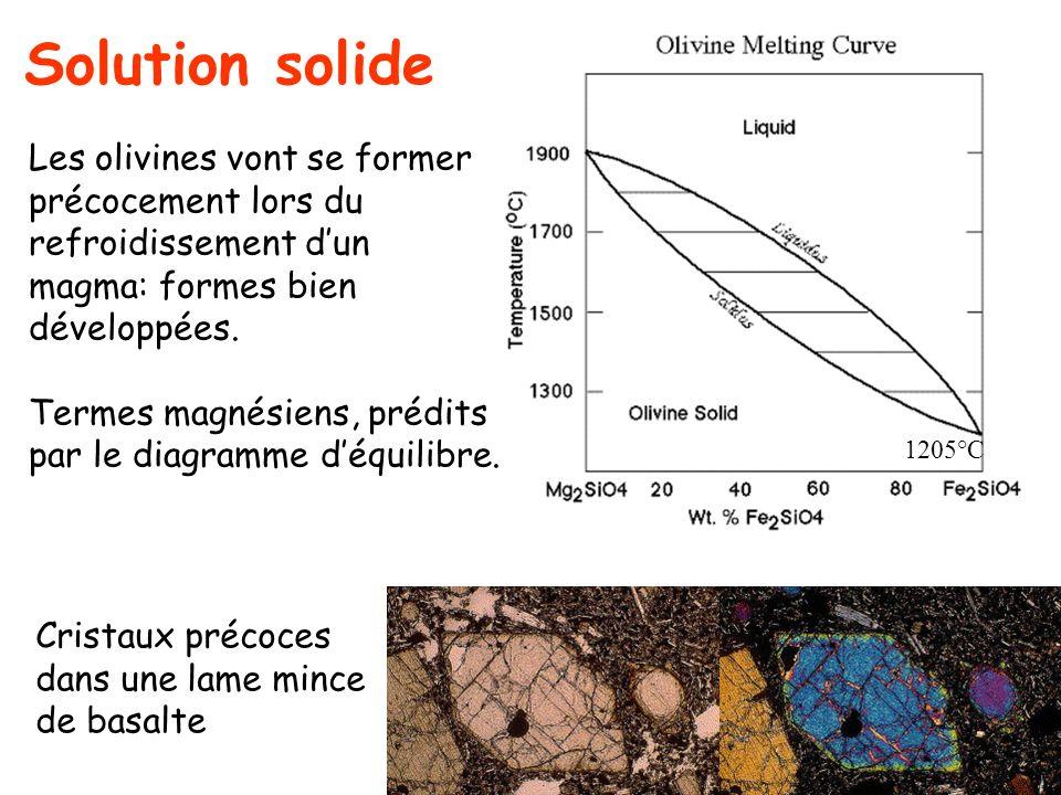 Les olivines vont se former précocement lors du refroidissement dun magma: formes bien développées. Termes magnésiens, prédits par le diagramme déquil