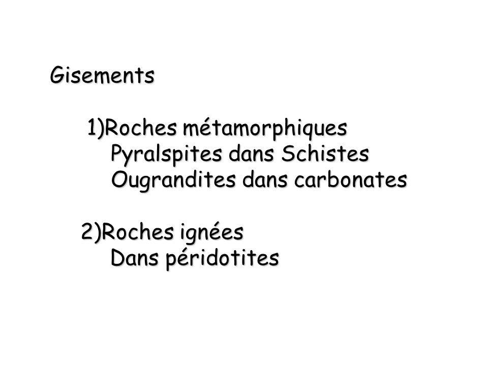 Gisements 1)Roches métamorphiques 1)Roches métamorphiques Pyralspites dans Schistes Ougrandites dans carbonates 2)Roches ignées Dans péridotites Dans