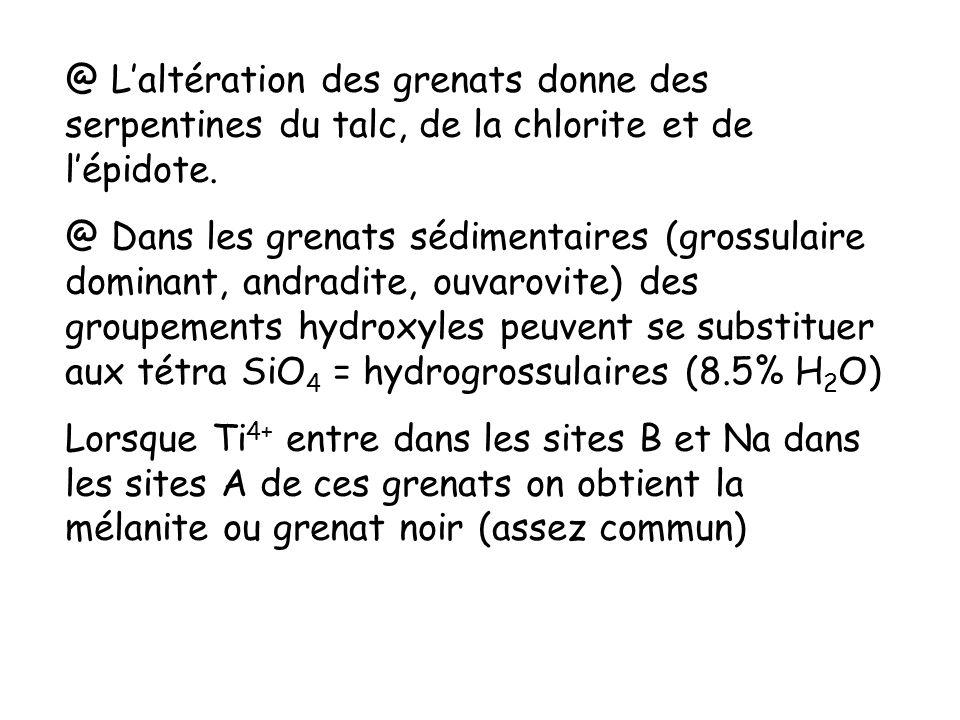 @ Laltération des grenats donne des serpentines du talc, de la chlorite et de lépidote. @ Dans les grenats sédimentaires (grossulaire dominant, andrad
