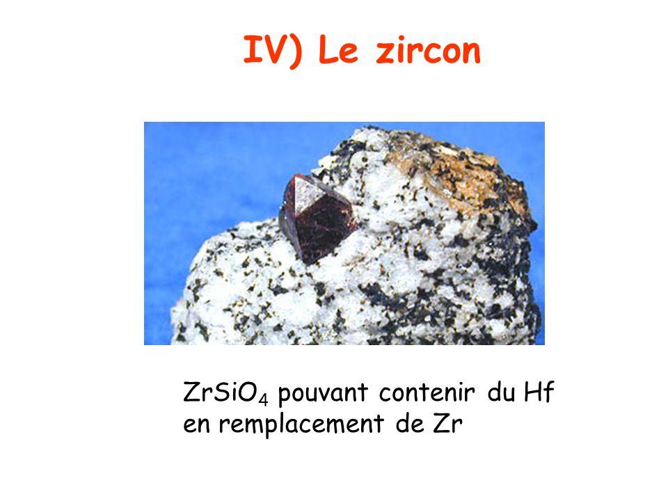 IV) Le zircon ZrSiO 4 pouvant contenir du Hf en remplacement de Zr