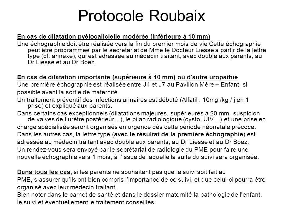 Protocole Roubaix En cas de dilatation pyélocalicielle modérée (inférieure à 10 mm) Une échographie doit être réalisée vers la fin du premier mois de