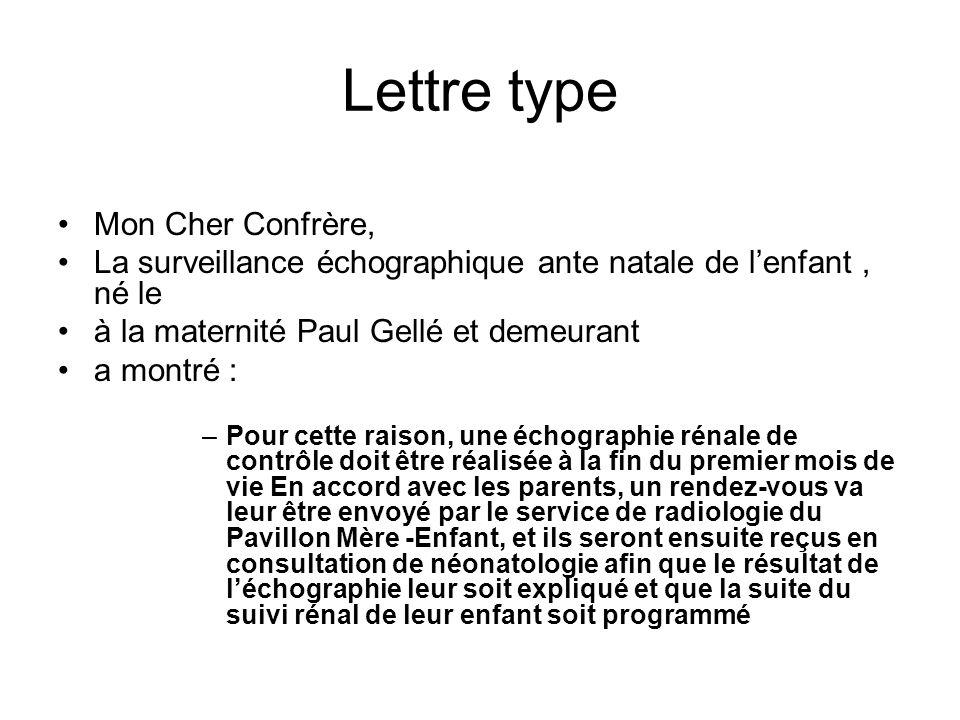 Lettre type Mon Cher Confrère, La surveillance échographique ante natale de lenfant, né le à la maternité Paul Gellé et demeurant a montré : –Pour cet