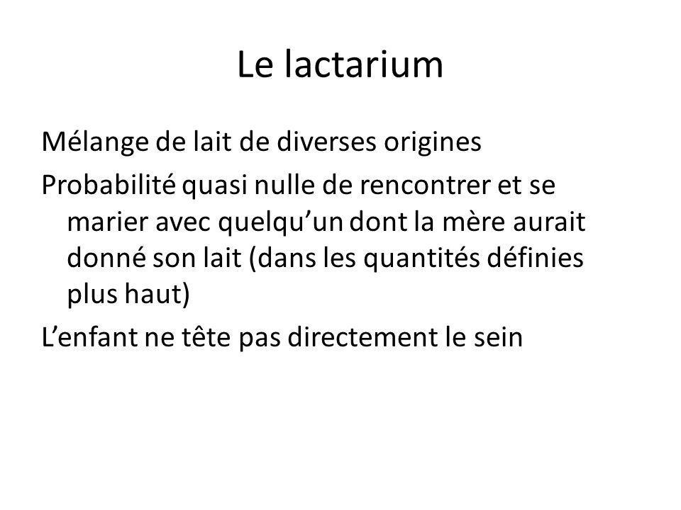 Le lactarium Mélange de lait de diverses origines Probabilité quasi nulle de rencontrer et se marier avec quelquun dont la mère aurait donné son lait