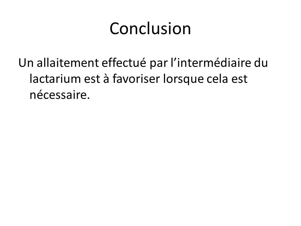 Conclusion Un allaitement effectué par lintermédiaire du lactarium est à favoriser lorsque cela est nécessaire.