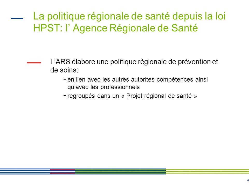 4 La politique régionale de santé depuis la loi HPST: l Agence Régionale de Santé LARS élabore une politique régionale de prévention et de soins: - en lien avec les autres autorités compétences ainsi quavec les professionnels - regroupés dans un « Projet régional de santé »