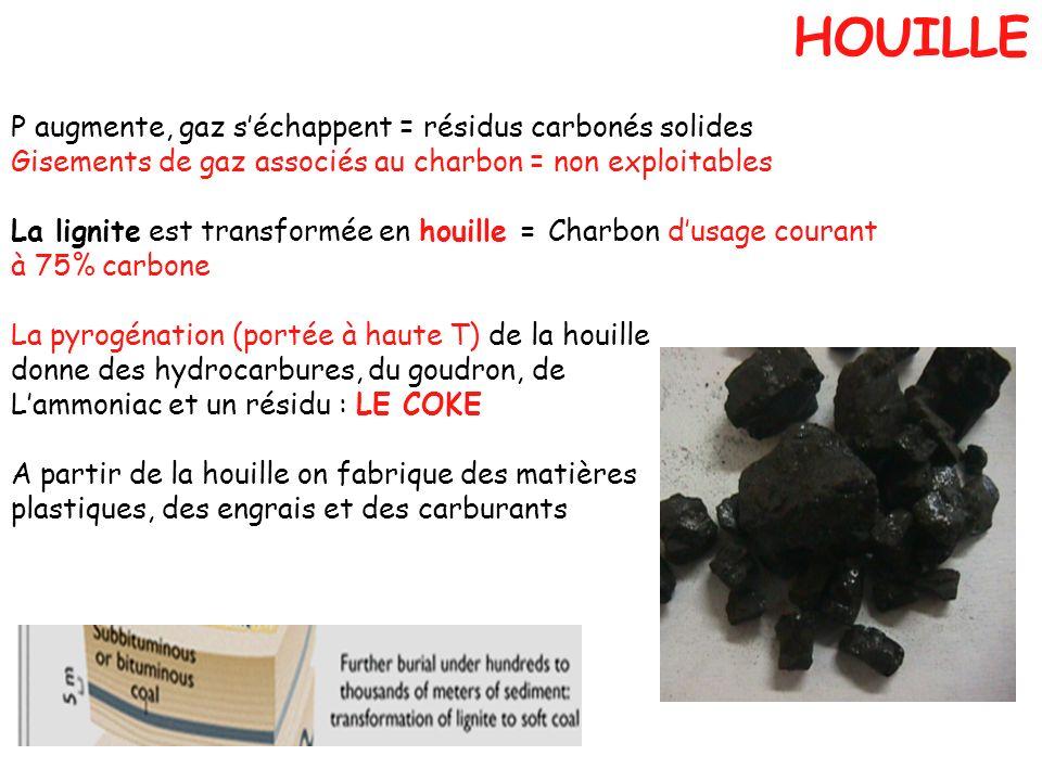 P augmente, gaz séchappent = résidus carbonés solides Gisements de gaz associés au charbon = non exploitables La lignite est transformée en houille =