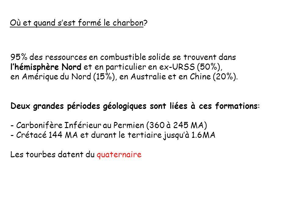 Où et quand sest formé le charbon? 95% des ressources en combustible solide se trouvent dans lhémisphère Nord et en particulier en ex-URSS (50%), en A