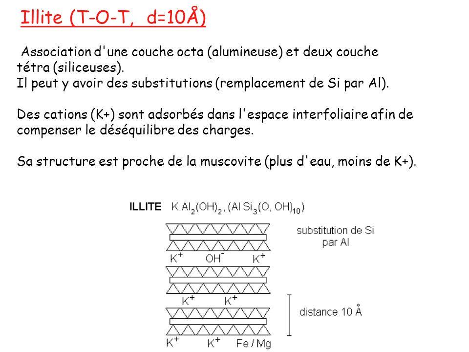 Illite (T-O-T, d=10Å) Association d'une couche octa (alumineuse) et deux couche tétra (siliceuses). Il peut y avoir des substitutions (remplacement de