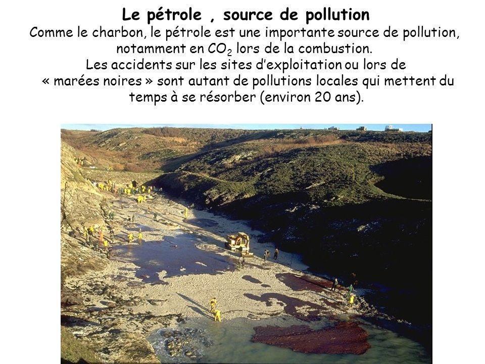 Le pétrole, source de pollution Comme le charbon, le pétrole est une importante source de pollution, notamment en CO 2 lors de la combustion. Les acci