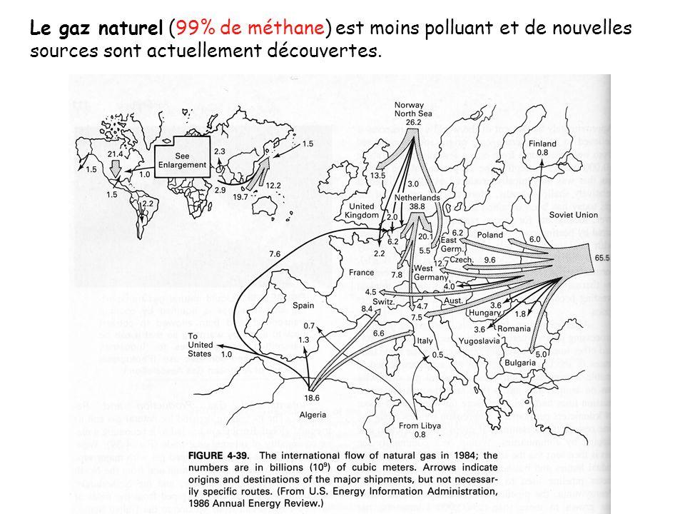 Le gaz naturel (99% de méthane) est moins polluant et de nouvelles sources sont actuellement découvertes.